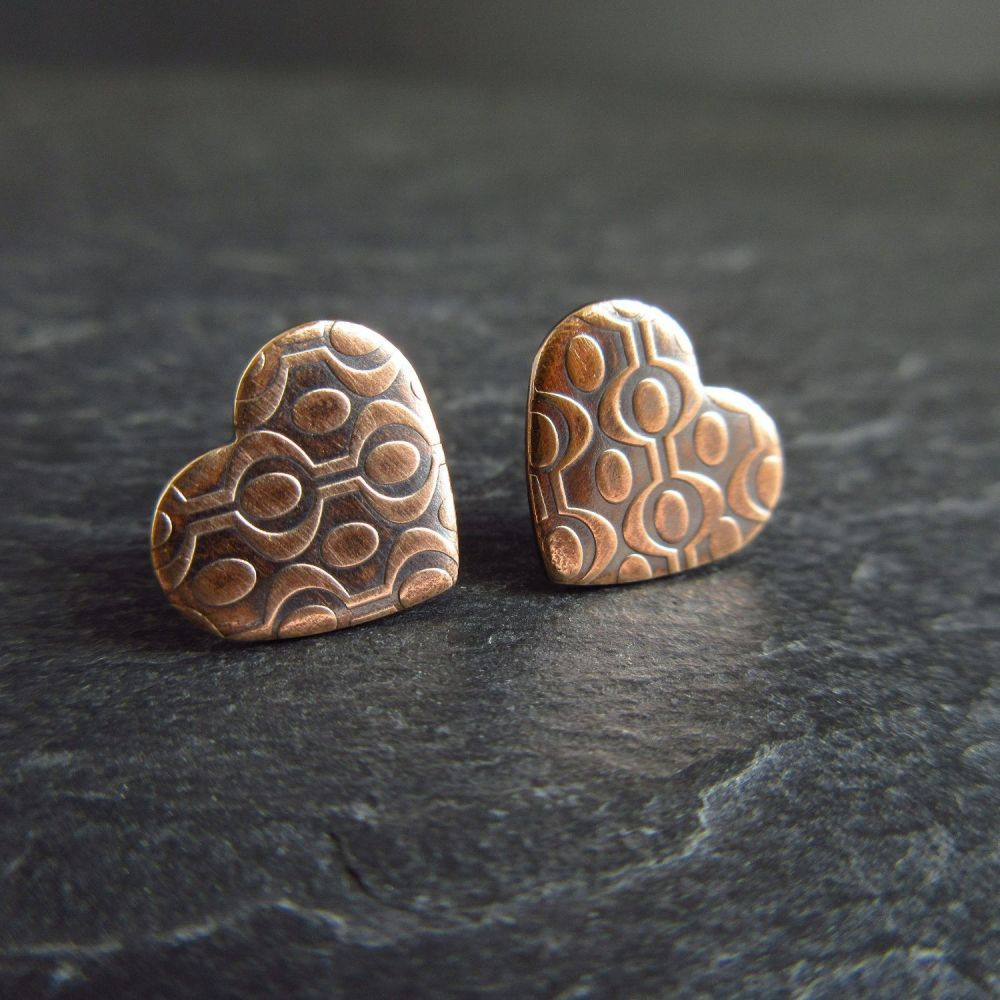 Bronze Heart Shape Earrings with Embossed Design