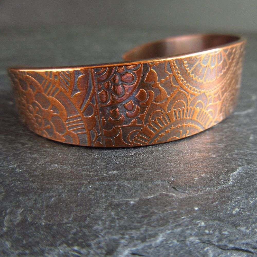 Copper Cuff Bracelet with Mandala Pattern