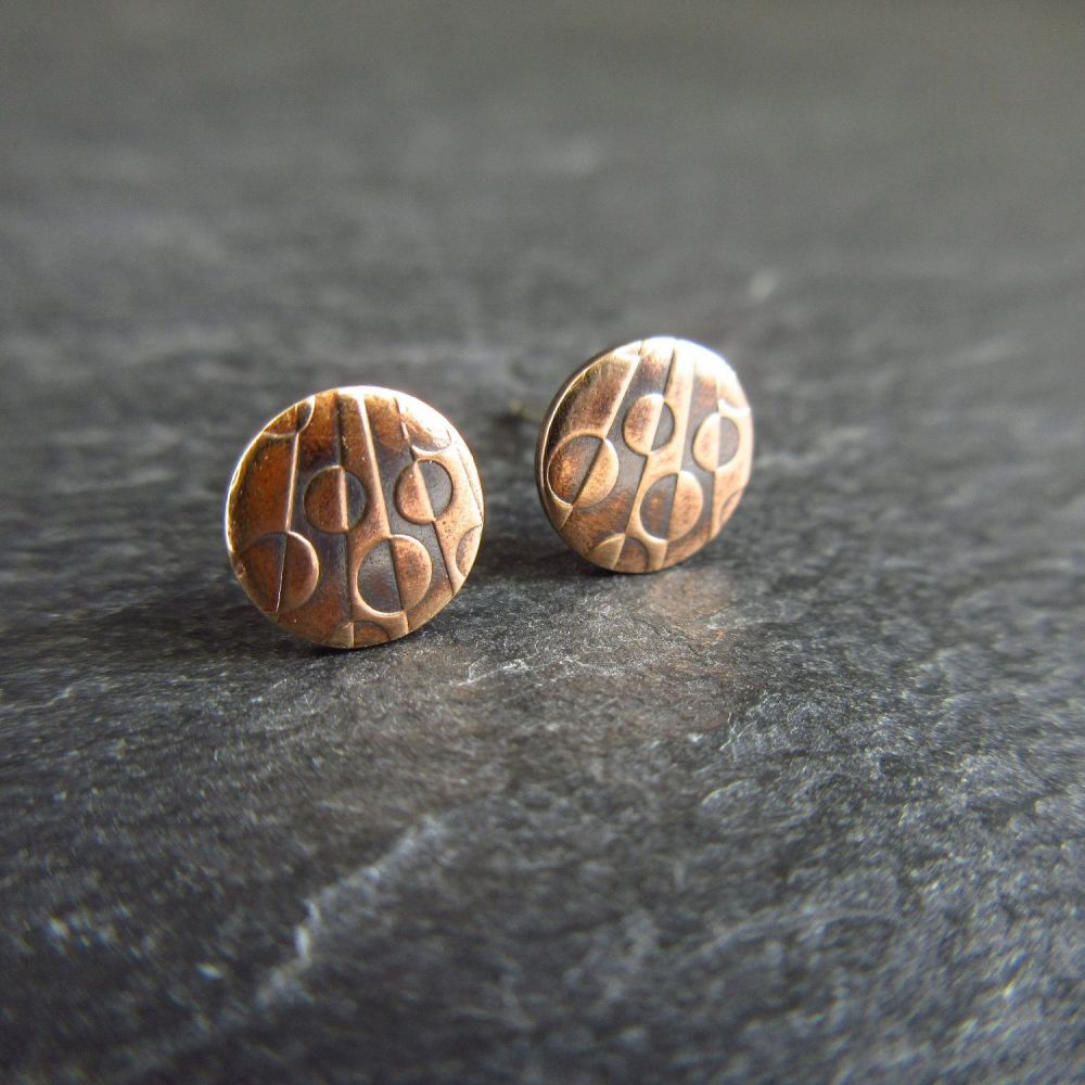 Round Bronze Stud Earrings with Geometric Circle Pattern