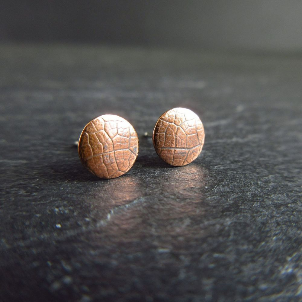 Copper Stud Earrings with Leaf Vein Texture