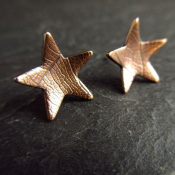 Bronze Star Stud Earrings with Leaf Vein Texture