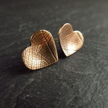 Bronze Heart Shape Stud Earrings with Leaf Vein Texture