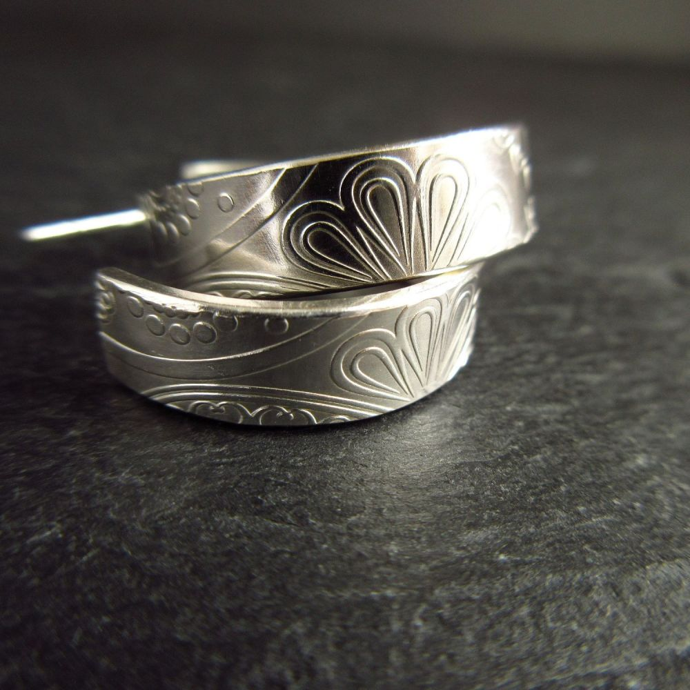 Sterling Silver Open Hoop Earrings with Post Fittings and Flower Pattern
