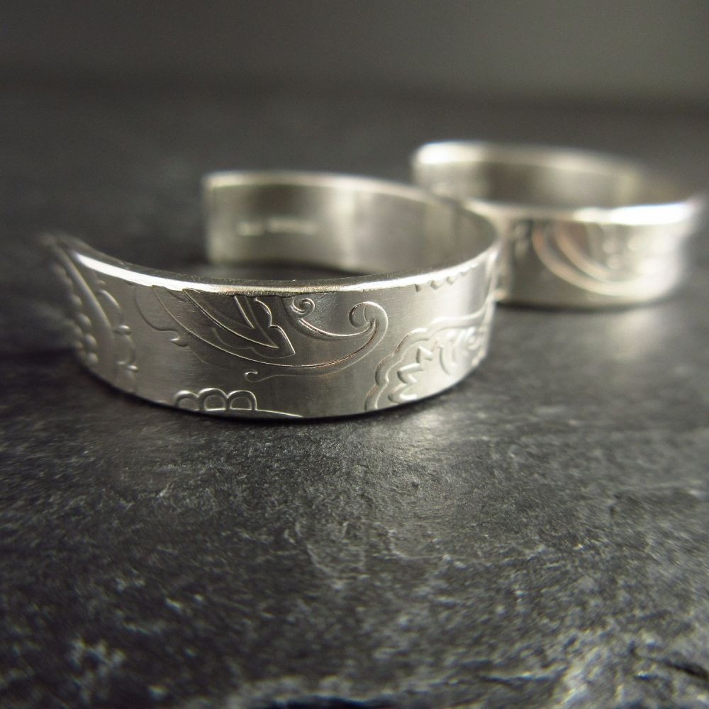 Sterling Silver Hoops with Post Fittings and Swirl Pattern