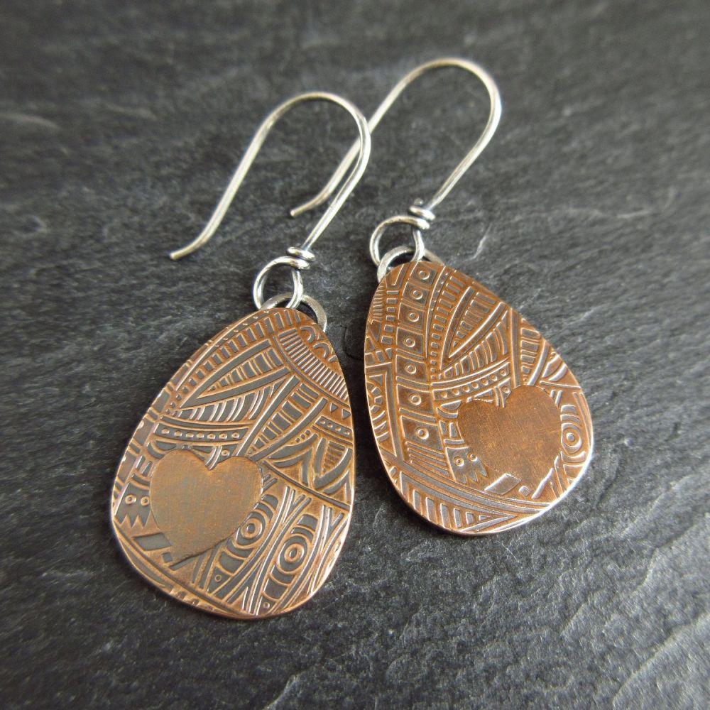 Pebble Shape Bronze Earrings with Heart