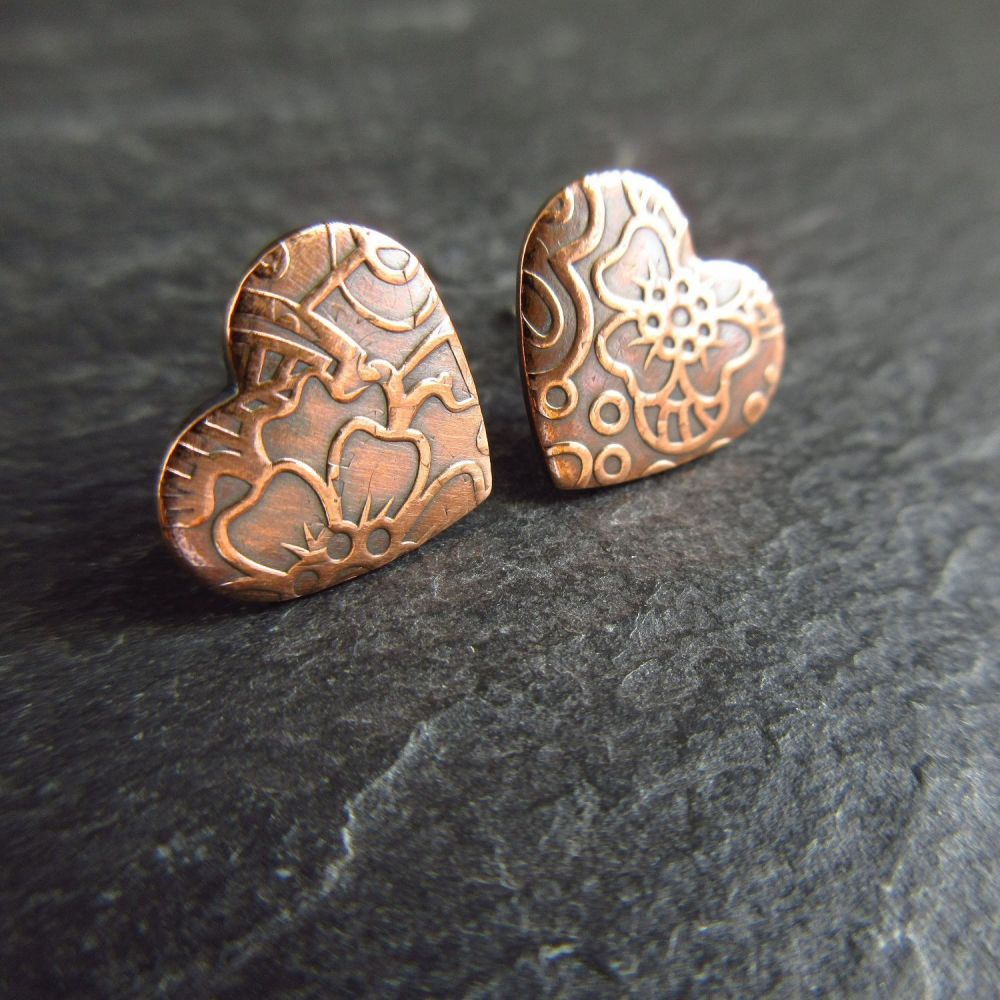 Copper Heart Shape Stud Earrings with Doodle Pattern For Women