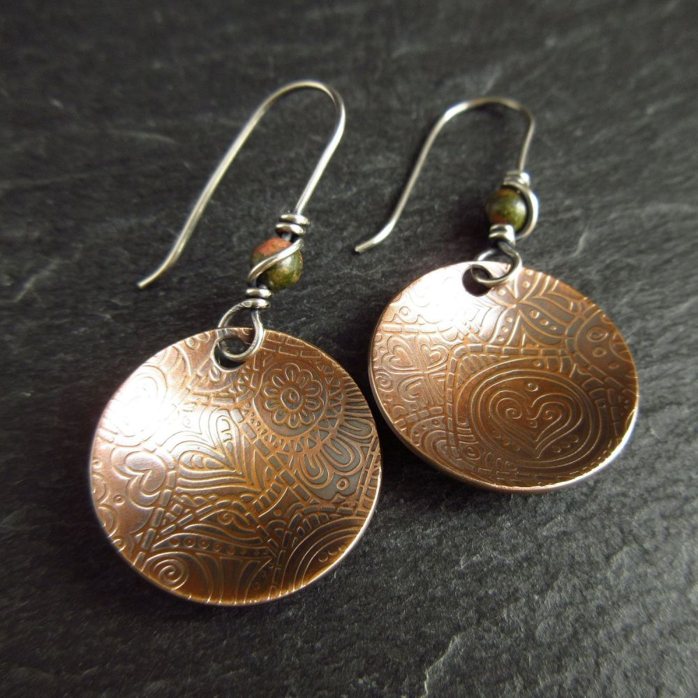 Patterned Bronze Disc Earrings with Unakite Bead
