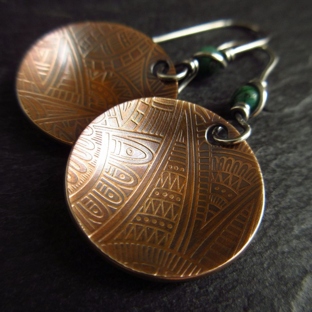 Genuine Bronze Disc Earrings with Tribal Style Pattern