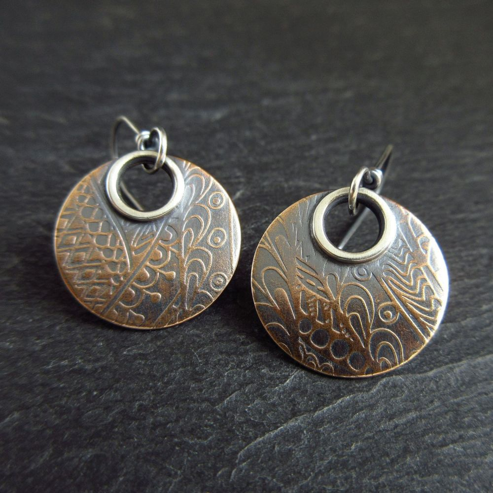 Bronze Disc Earrings with Embossed Pattern