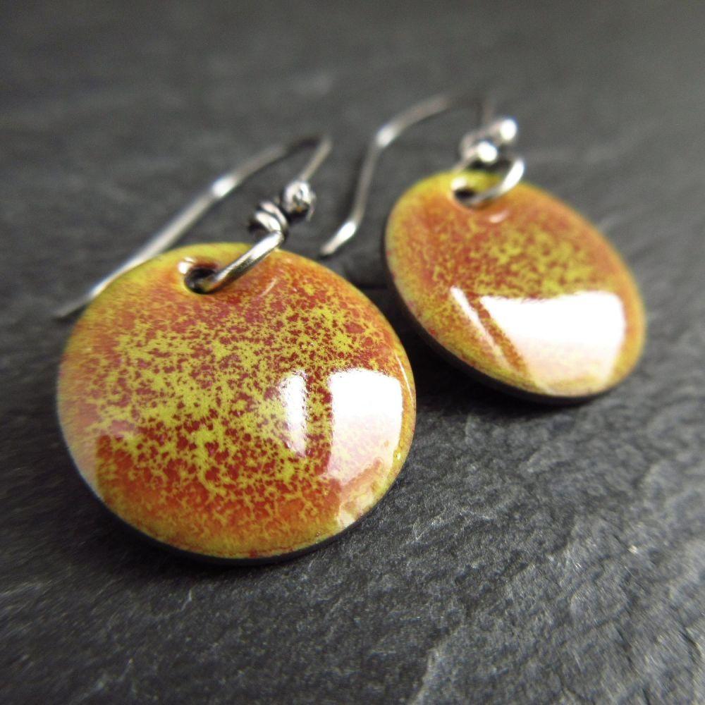 Green and Dark Pink Speckles Enamel Earrings