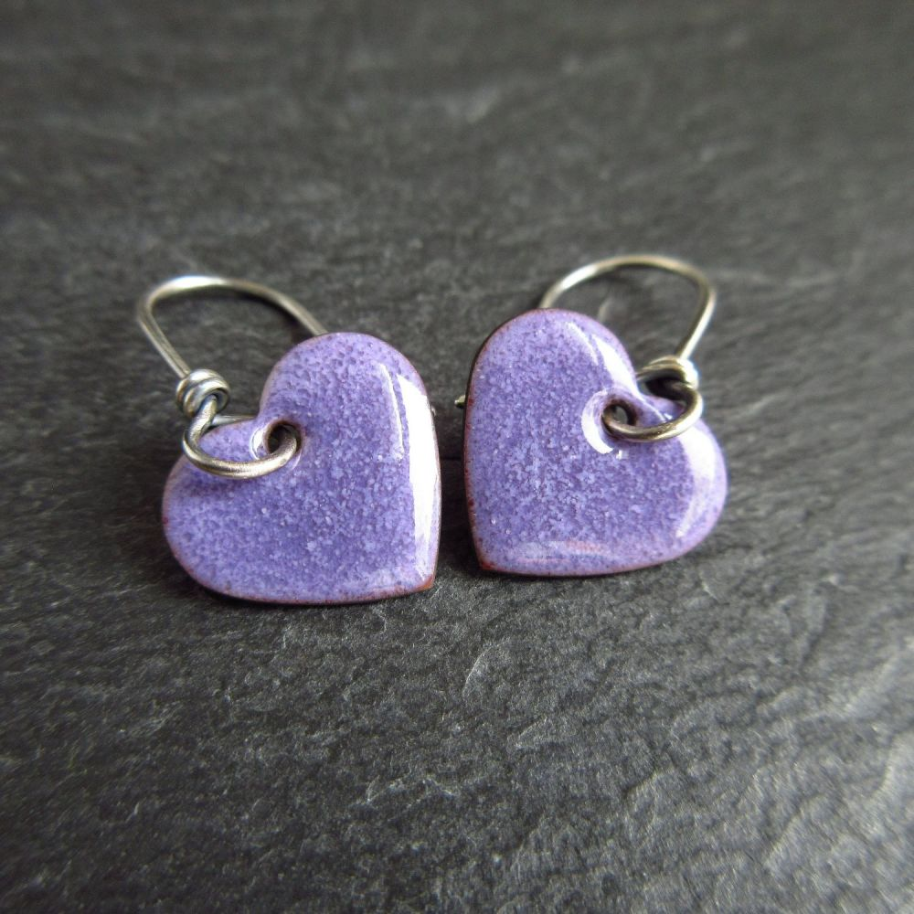 Handmade Purple Heart Enamel Earrings