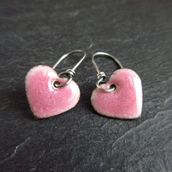 Handmade Pale Pink Heart Enamel Earrings