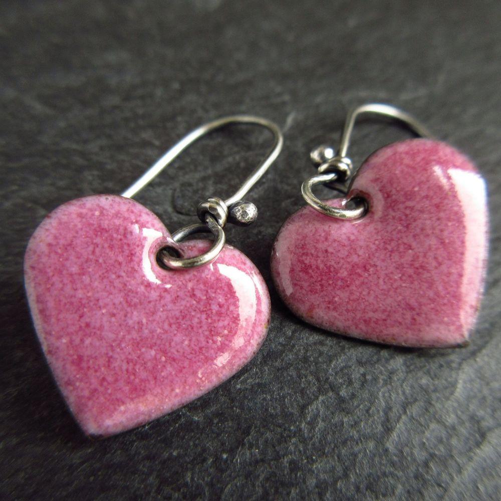 Grape Pink Enamel Heart Earrings
