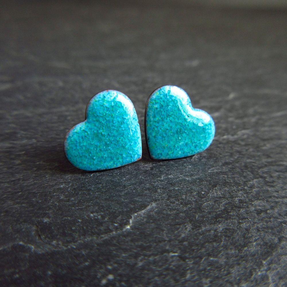 Blue Enamel Heart Stud Earrings with Sterling Silver Posts
