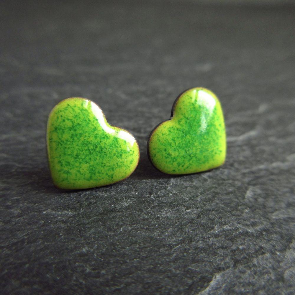 Green Enamel Heart Stud Earrings with Sterling Silver Posts