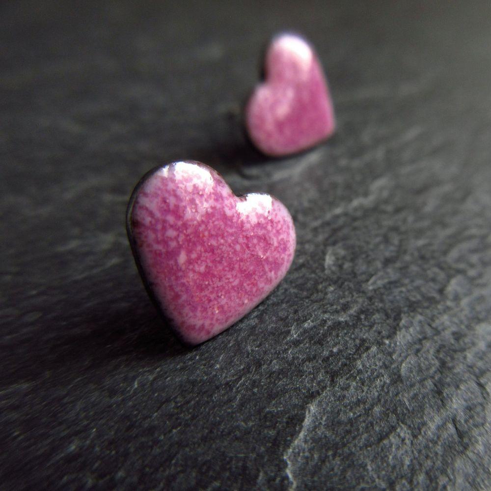 Grape Pink Enamel Heart Stud Earrings with Sterling Silver Posts