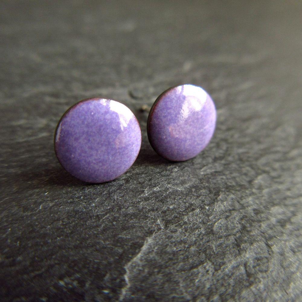 Purple Enamel Stud Earrings with Sterling Silver Posts