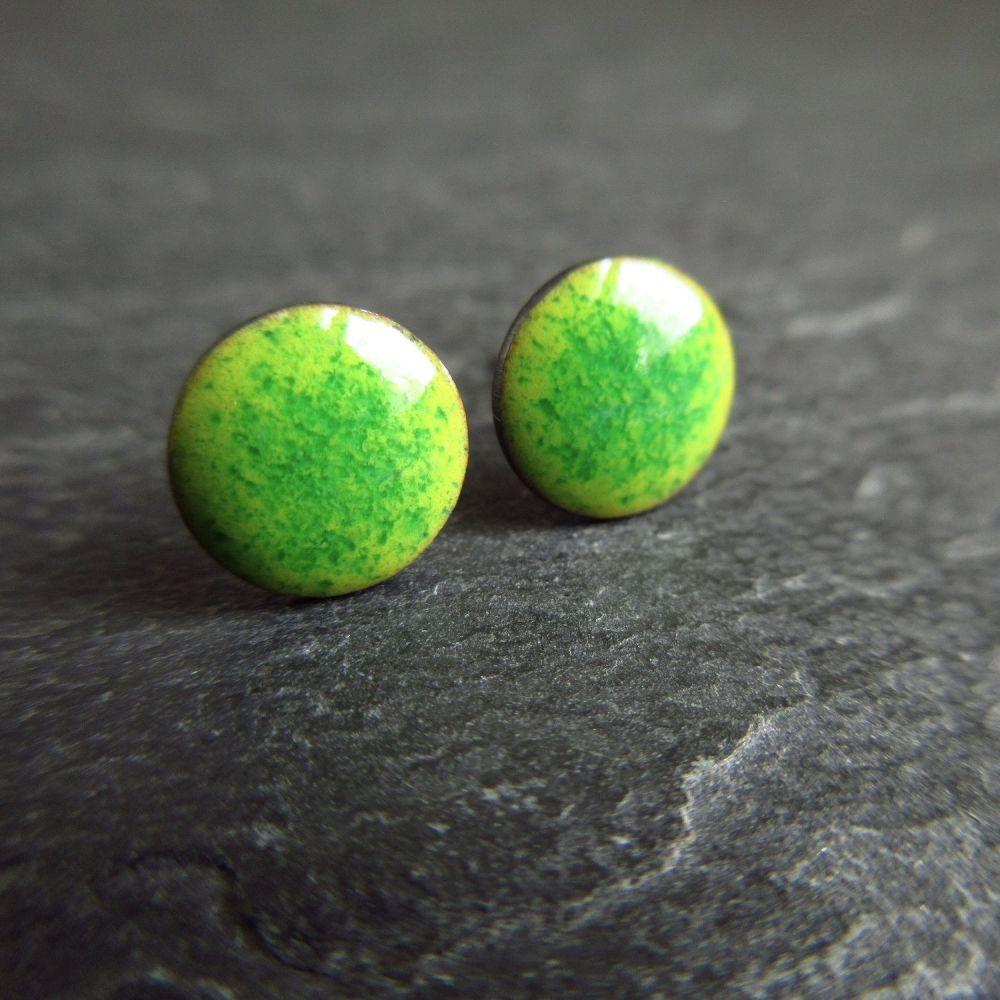 Green Enamel Disc Stud Earrings with Sterling Silver Posts