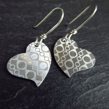 Stainless Steel Heart Earrings with Geometric Design