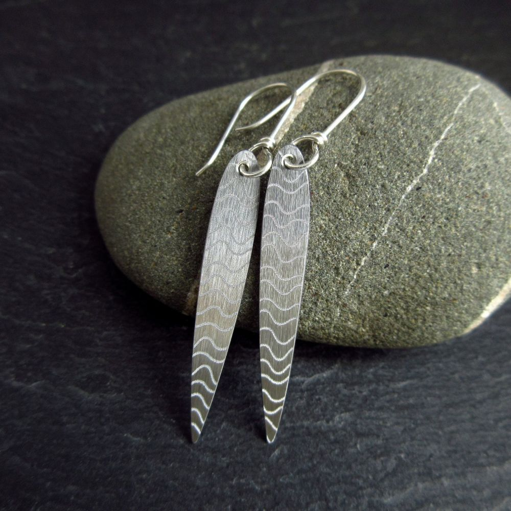 Handmade Stainless Steel Earrings Long Teardrop with Wavy Pattern
