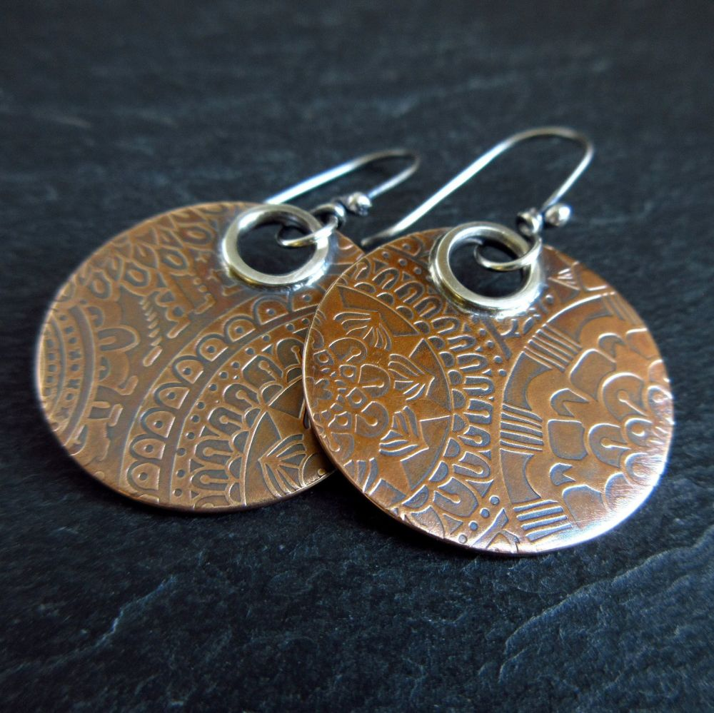 Real Bronze Disc Earrings with Embossed Pattern