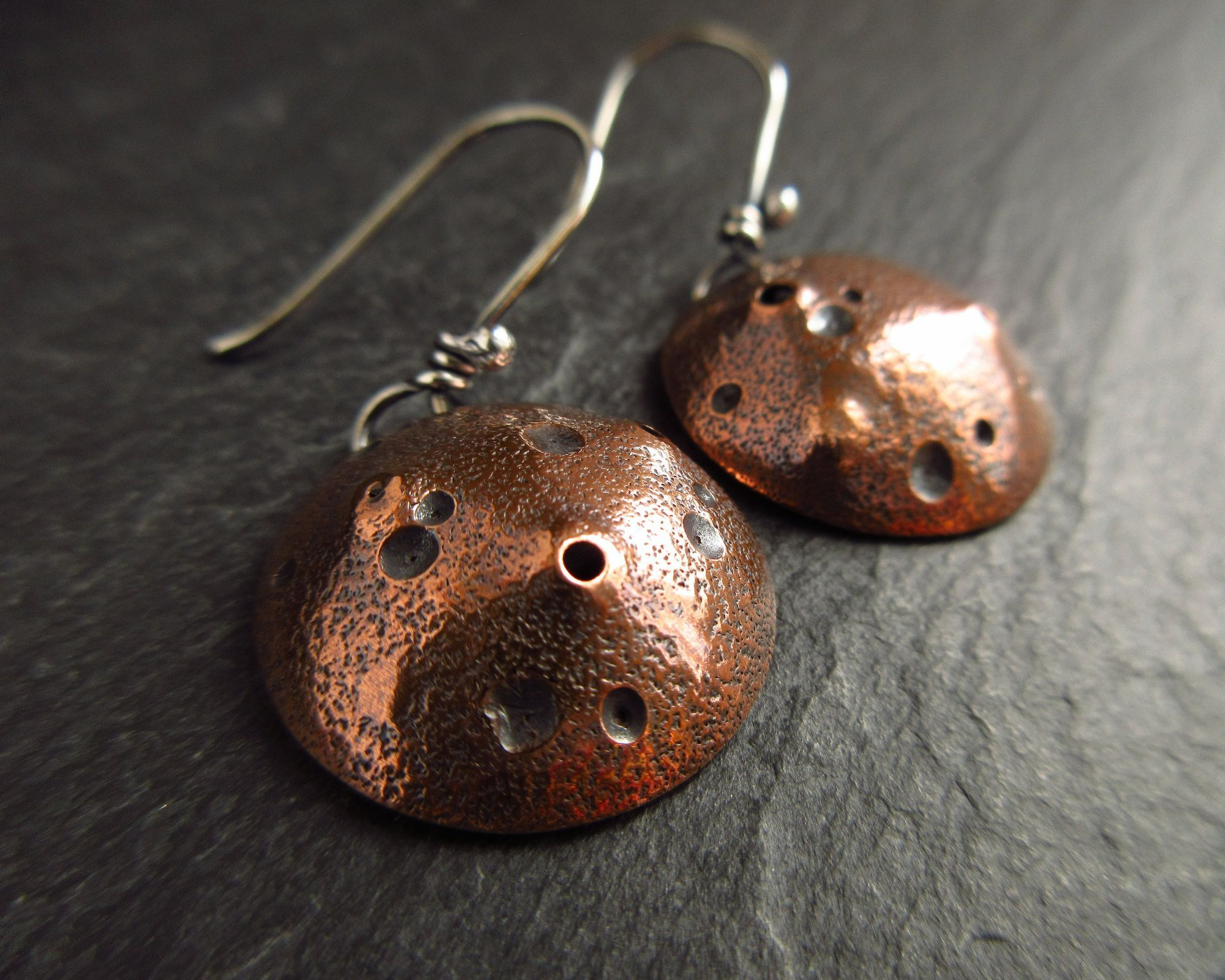 copper moonscape earrings