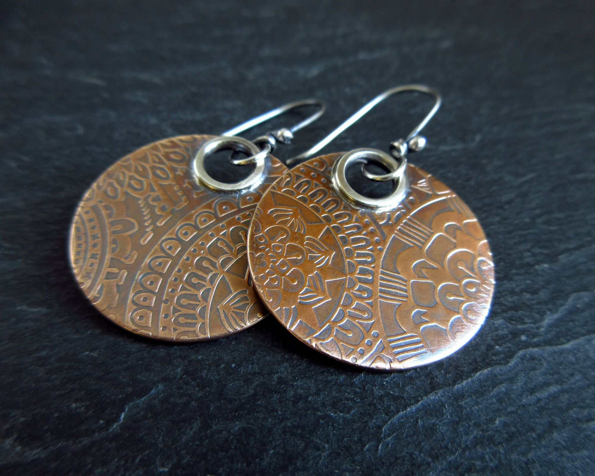 Bronze disc earrings