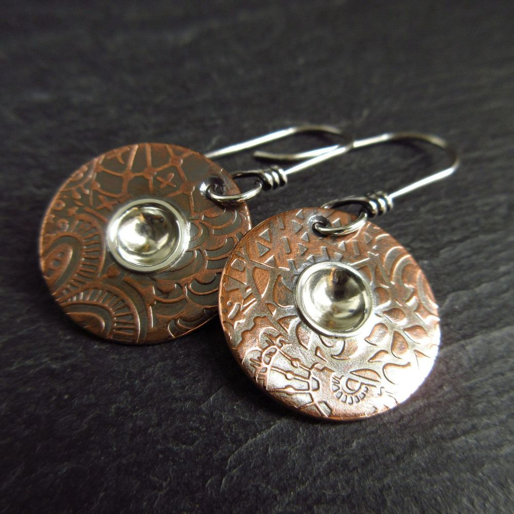 Copper Disc Earrings with Silver Circle