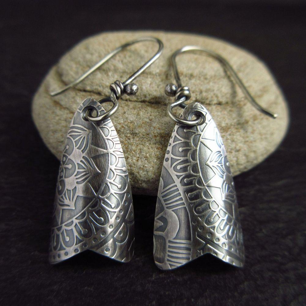 Sterling Silver Drop Earrings Moth Shape