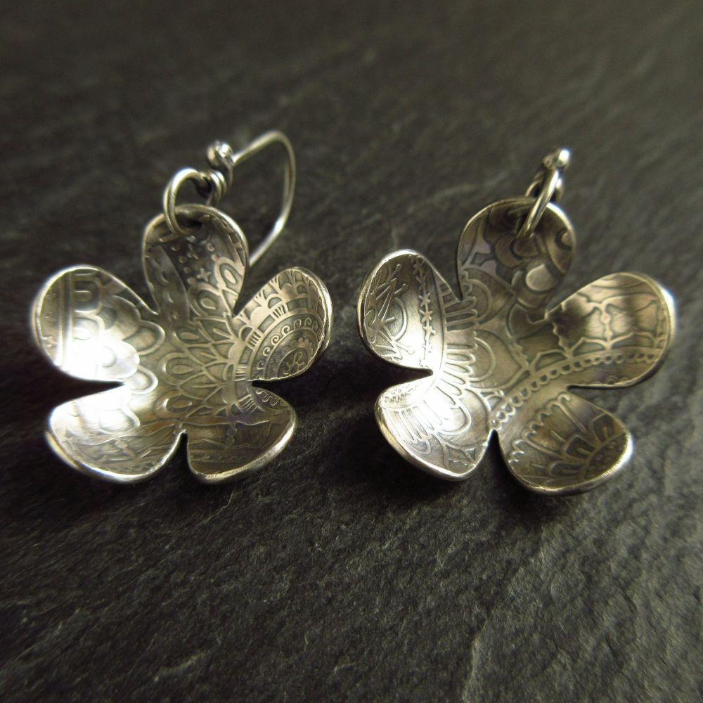 Sterling Silver Flower Earrings Daisy Shape