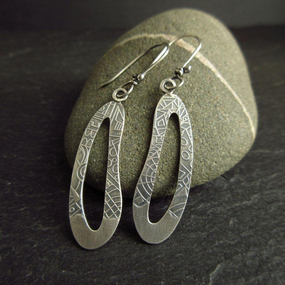 Sterling Silver Earrings - Long Pebble Shapes
