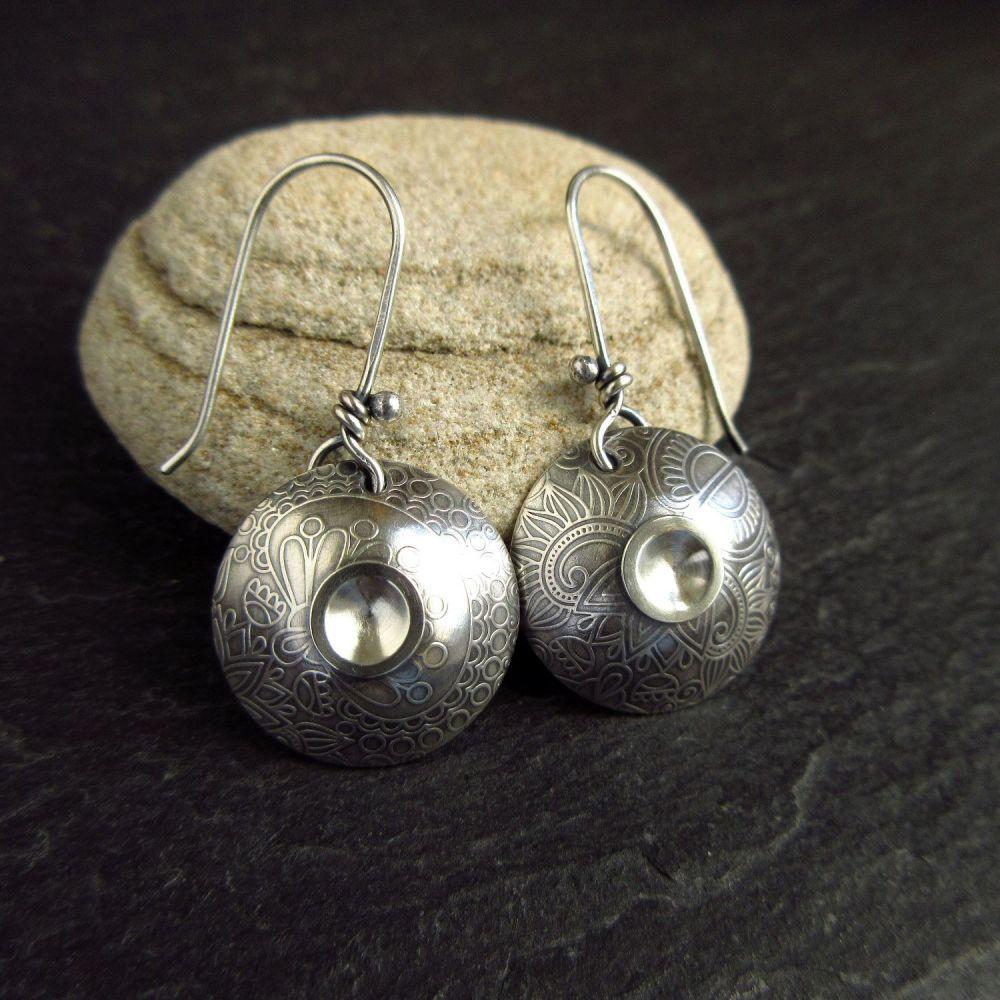 Double Dome Sterling Silver Earrings