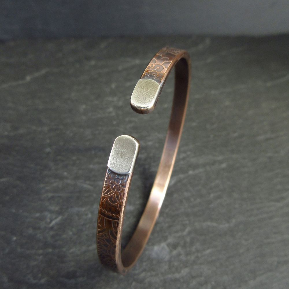 Real Bronze Open Style Bangle with Silver Tips
