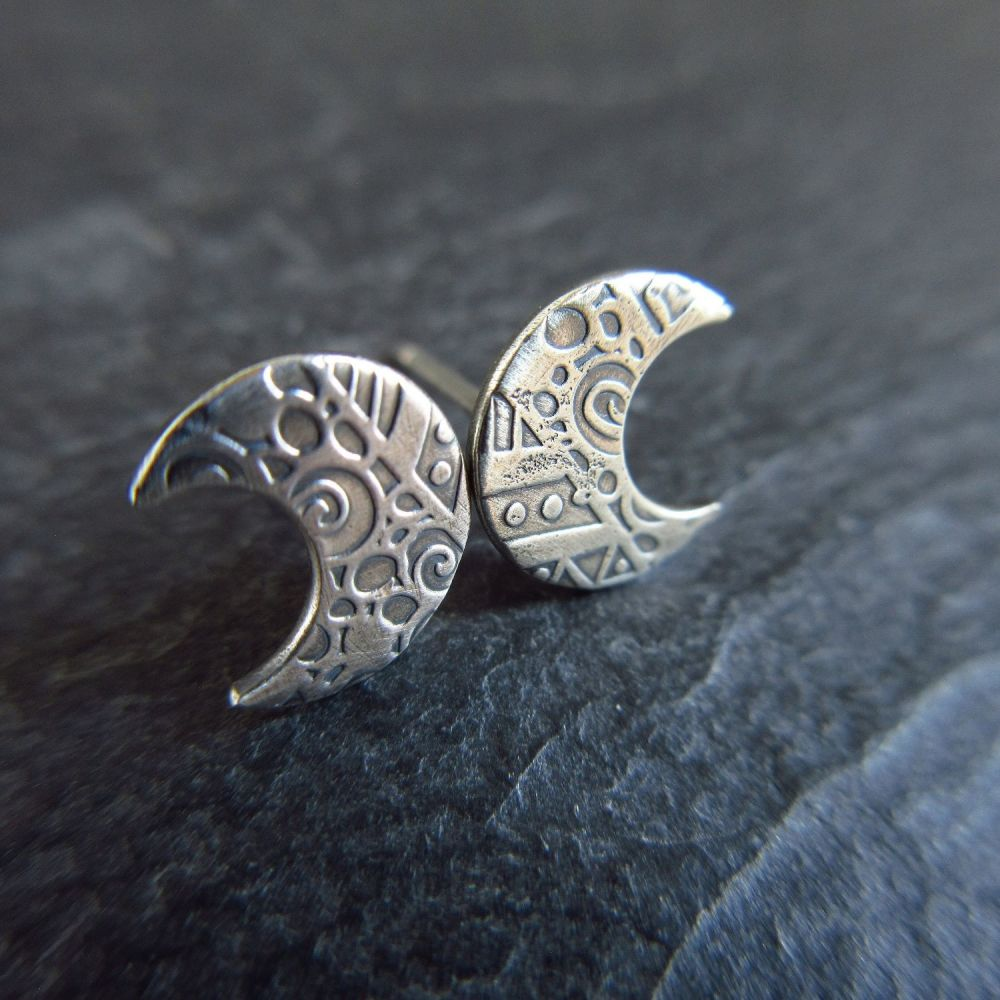 Sterling Silver Crescent Moon Stud Earrings with Embossed Pattern - Oxidized