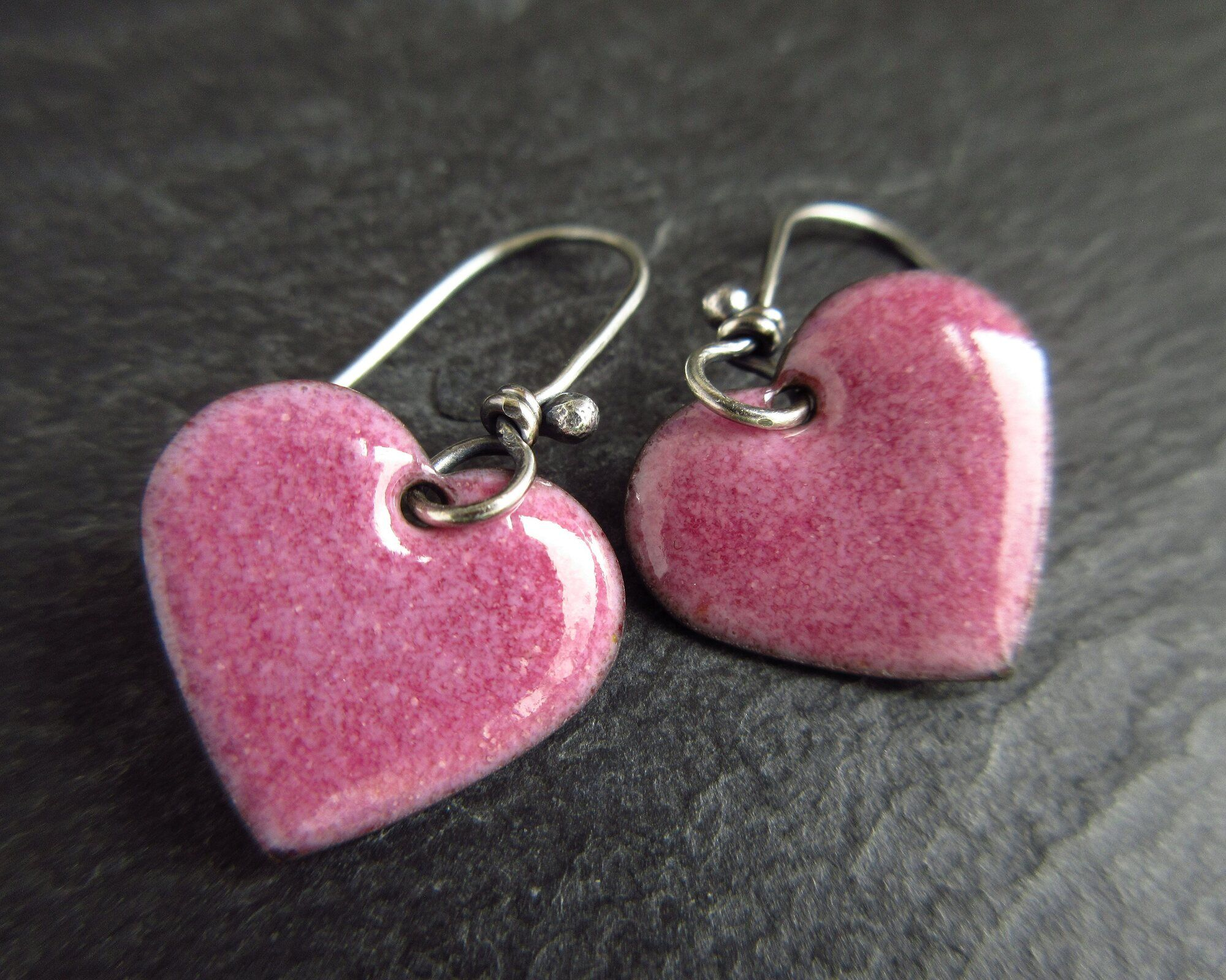 Pink heart Enamel earrings