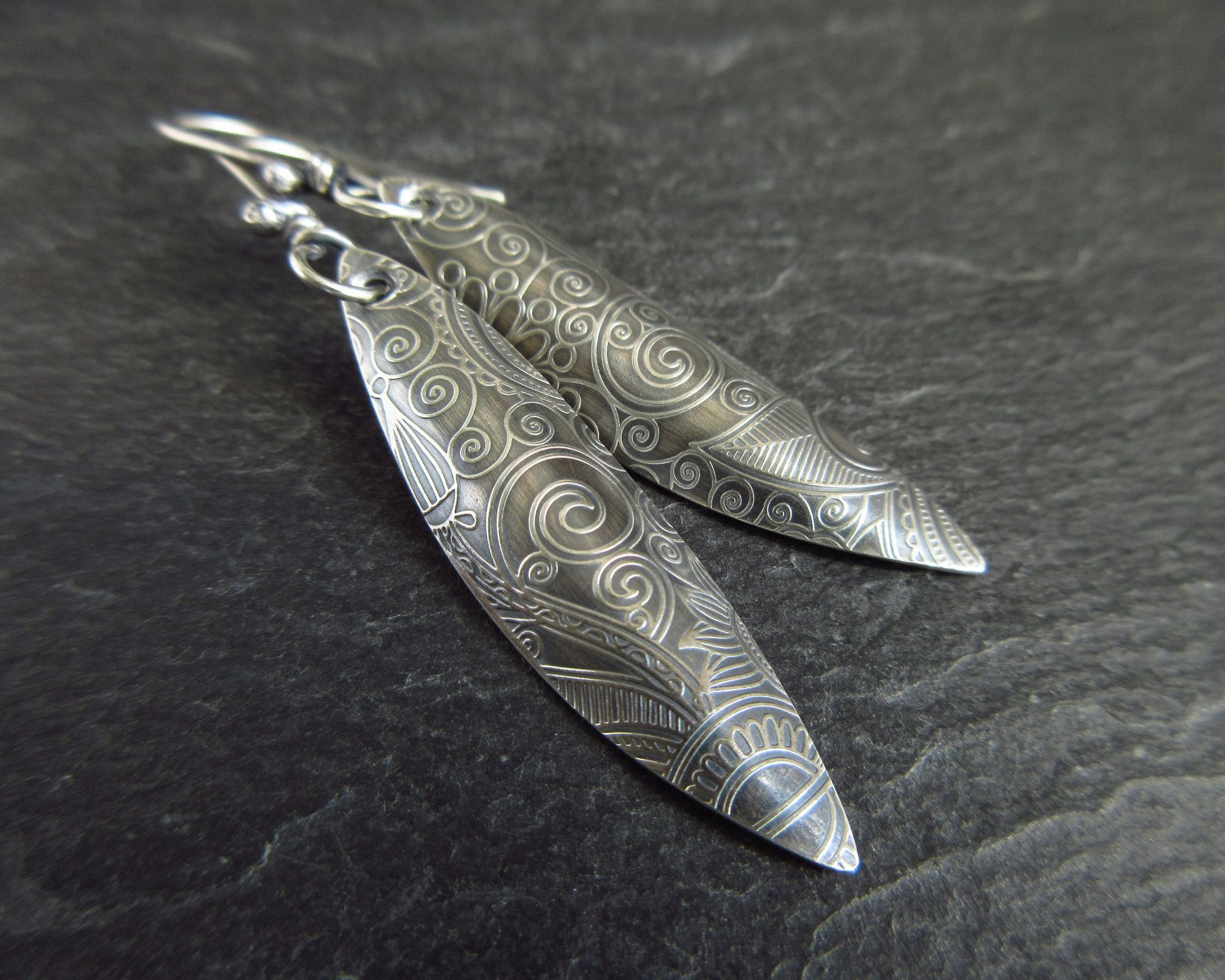 sterling silver patterned earrings