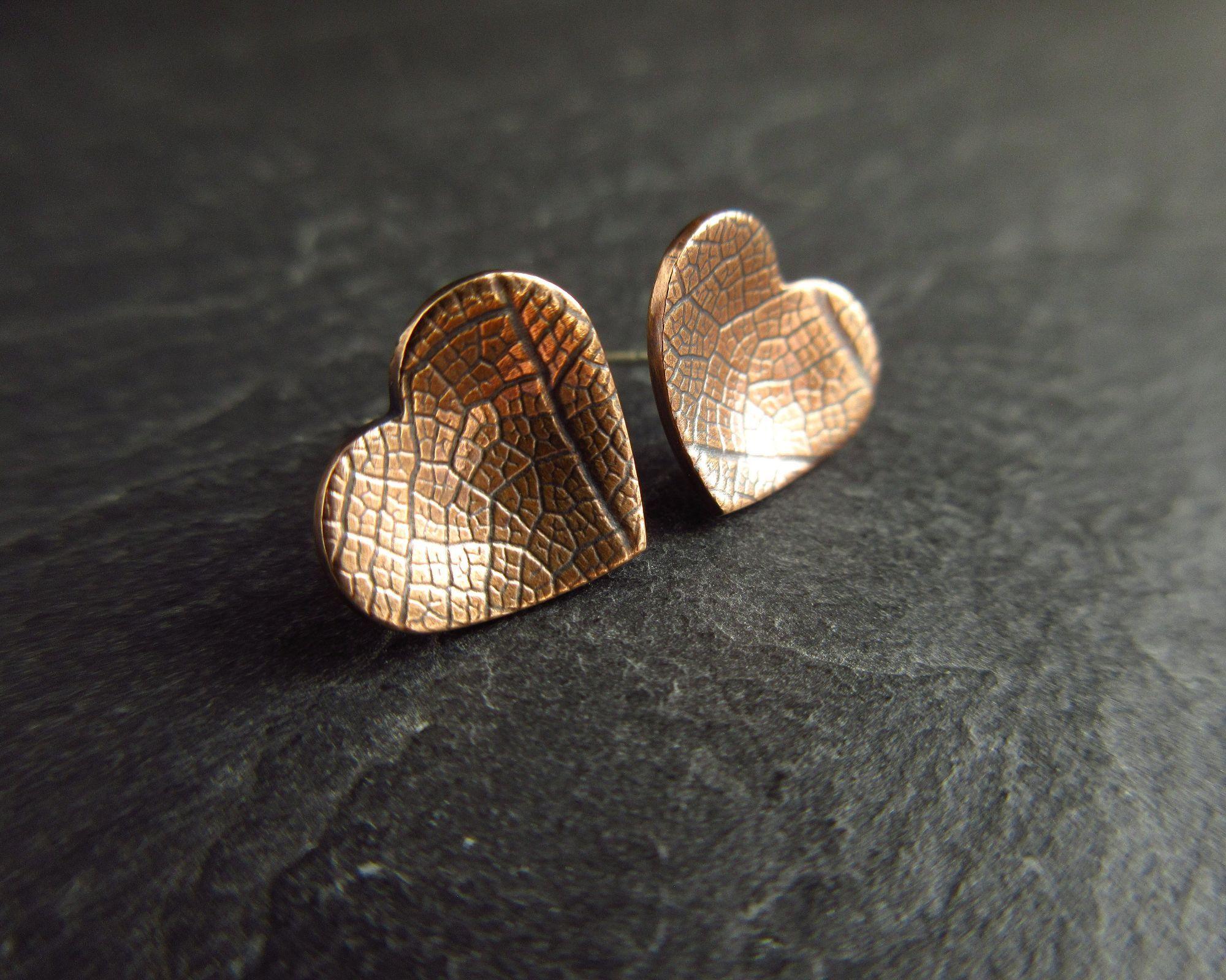 handmade bronze heart studs