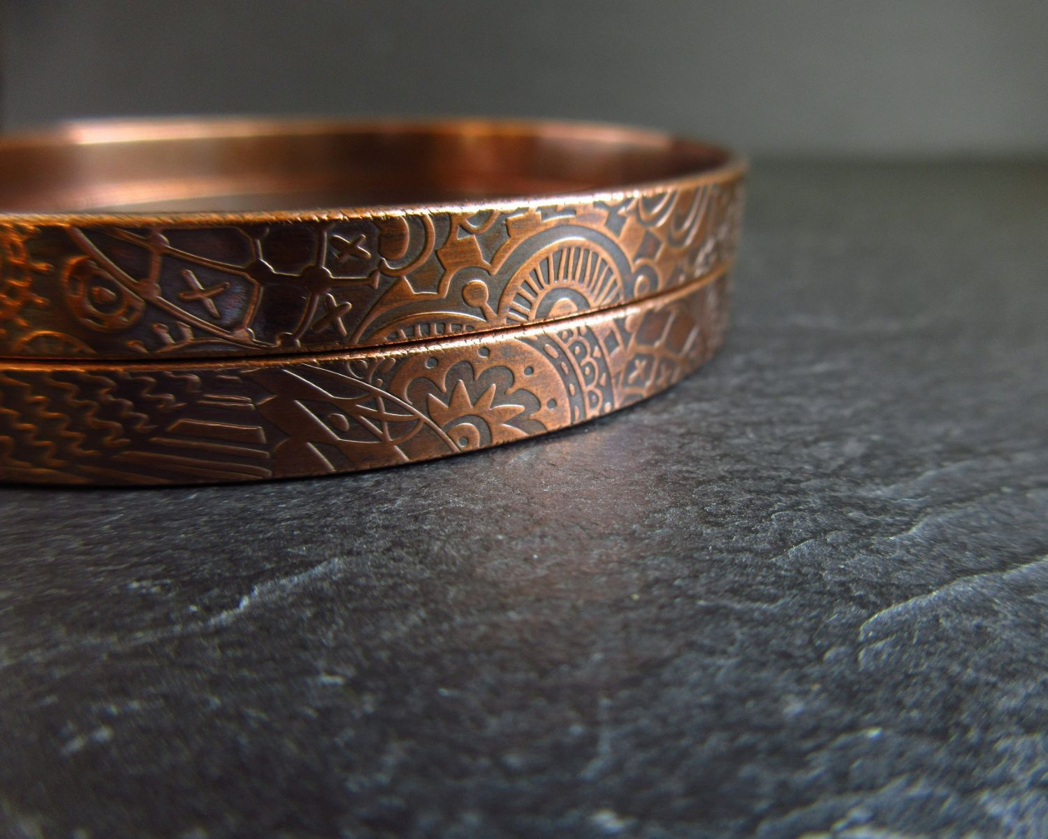 handmade patterend copper bangles