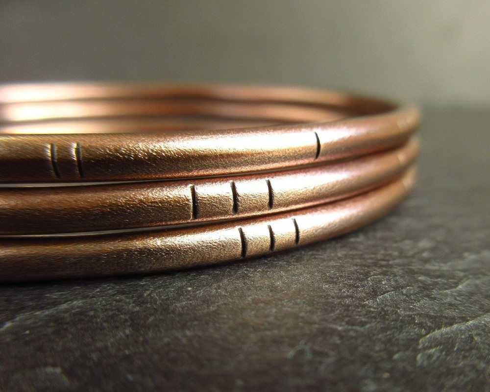 frosted texture with line decoration  real bronze bangles
