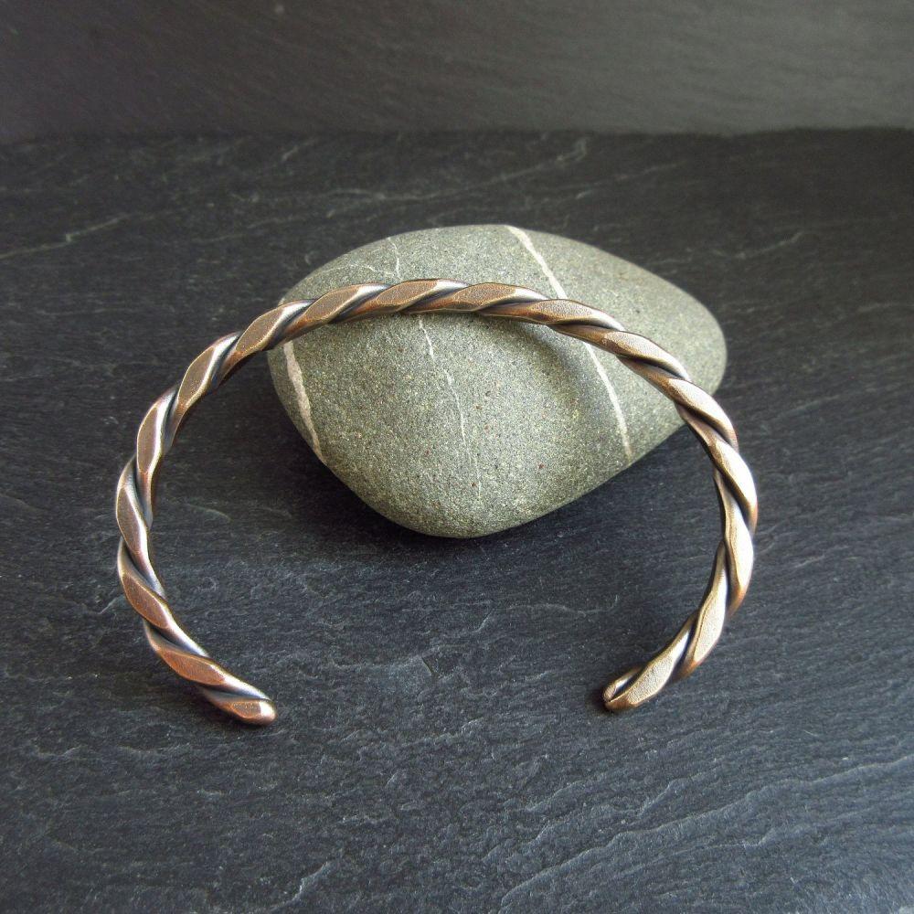 Square Twist Bronze Cuff Bracelet for Women & Men