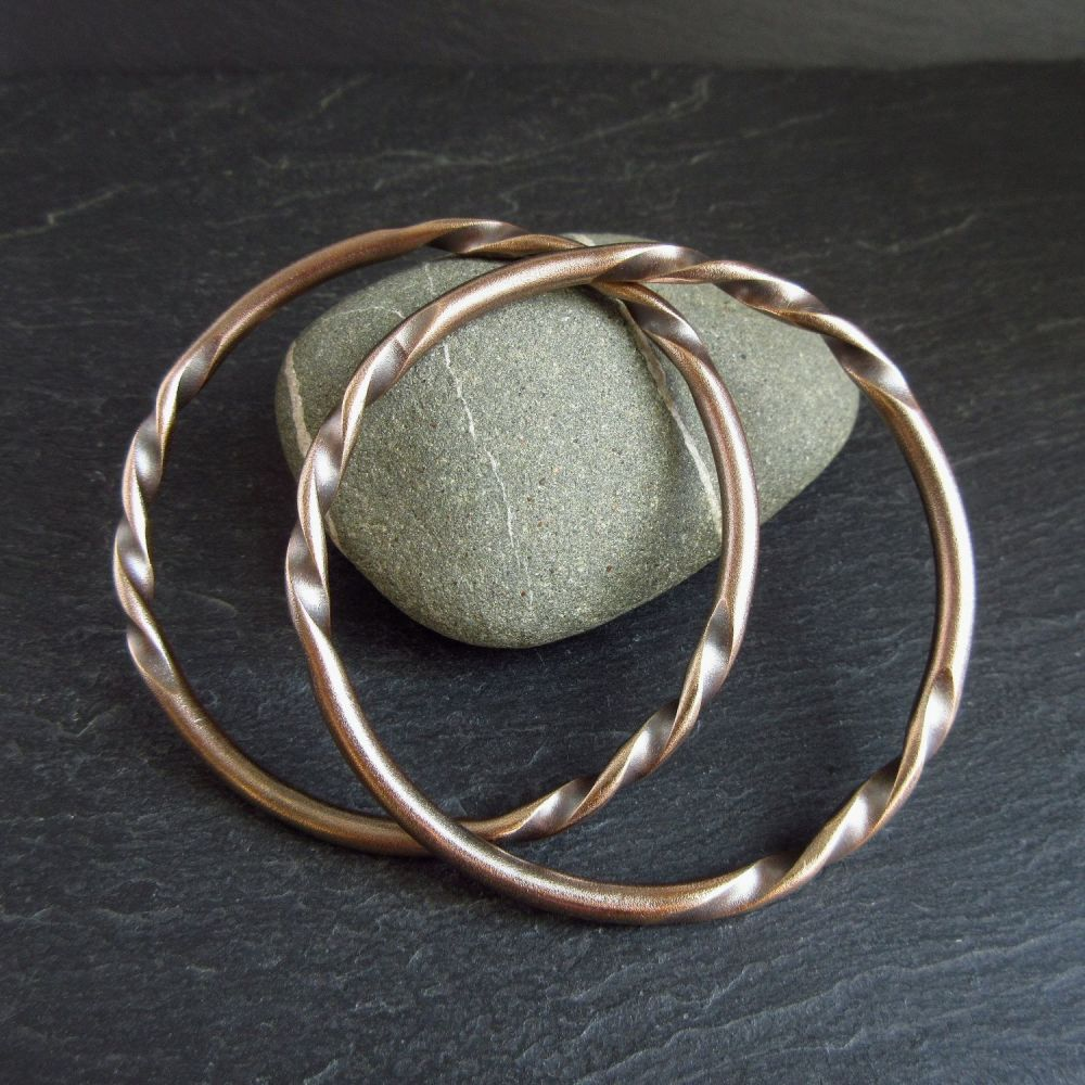 Bronze Twisted Wire Bangles with Frosted Finish