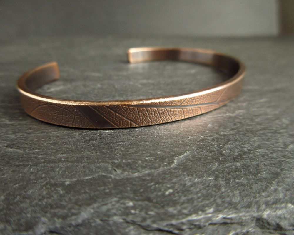 Real Bronze Cuff Bangle with Leaf Vein Texture