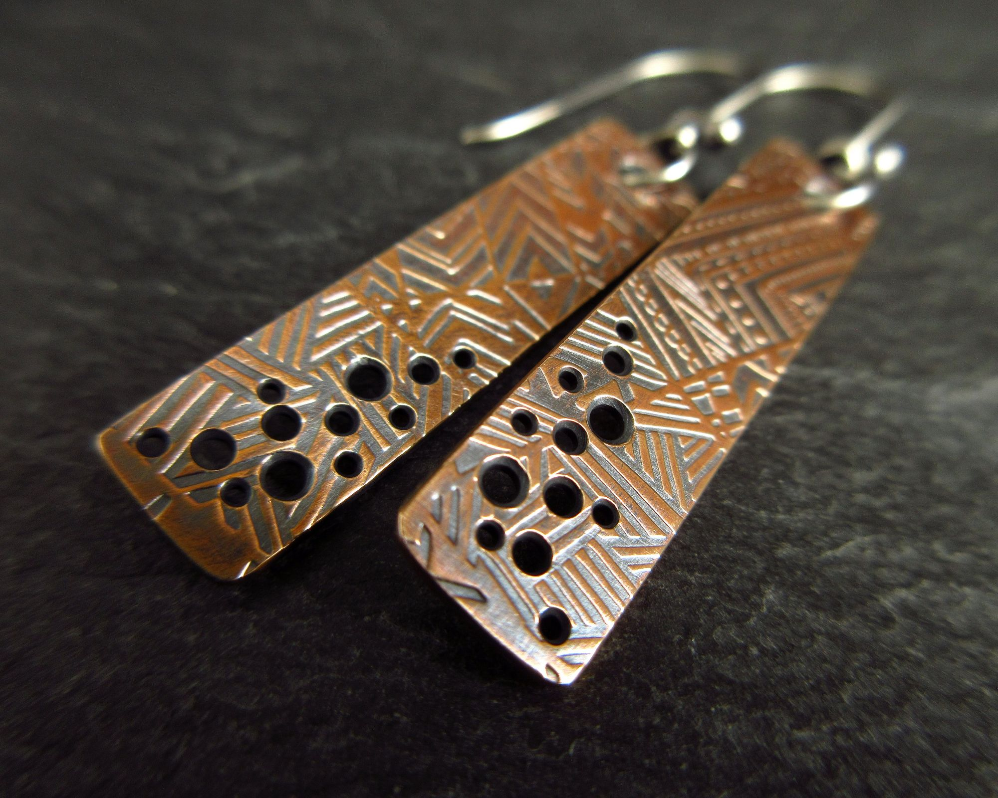 Bronze paddle earrings with holes