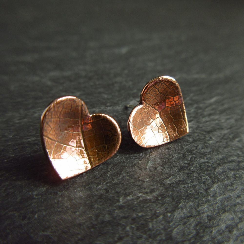 Copper Heart Stud Earrings with Leaf Vein Texture