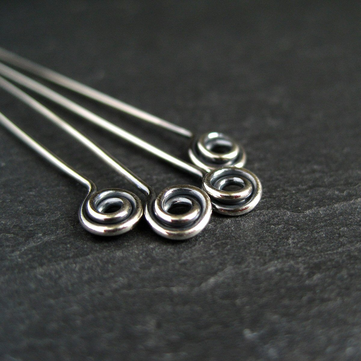 Oxidized Sterling Silver Swirl Headpins