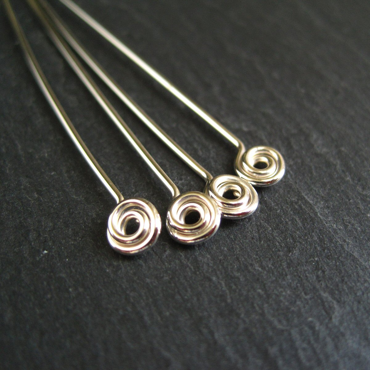Sterling Silver Swirl Headpins