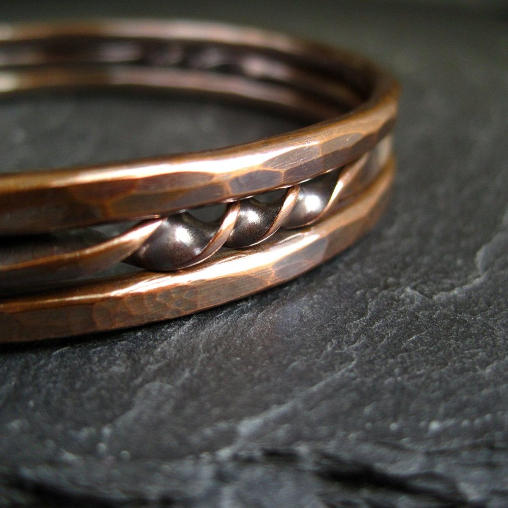 Pure Copper Bangles - Hammered and Twist Design