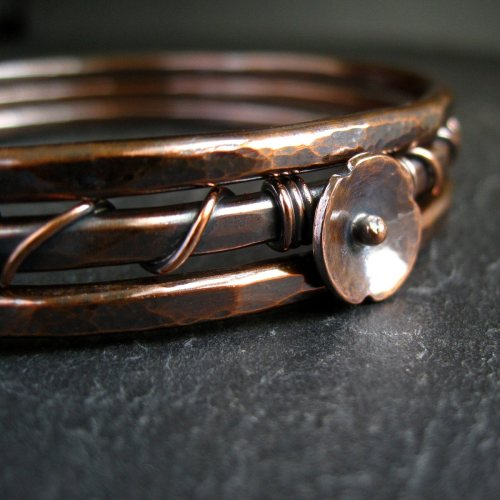 Copper Bangle Set with Copper Poppy Flower