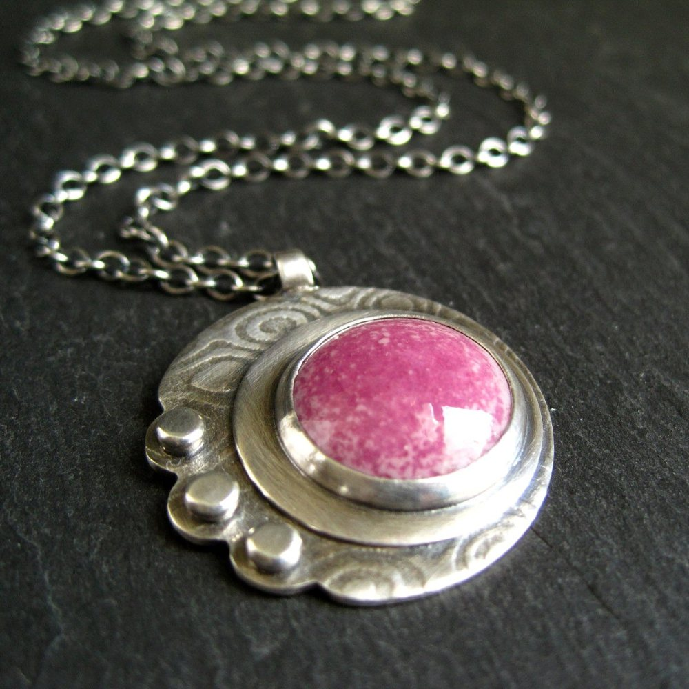 Sterling Silver Metalwork Pendant with Pink Enamel