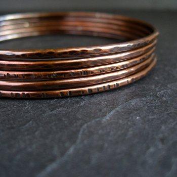 Hammered Antique Copper Bangles - Set of 5